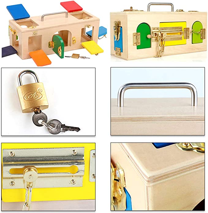 D DOLITY Montessori Caja de Cerradura de Madera Juguete Educativo Temprano para Niños: Amazon.es: Juguetes y juegos