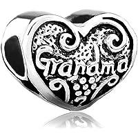 Sterling Silve Heart Love Grandma Family Charms Jewelry Beads Fit Pandora Bracelets