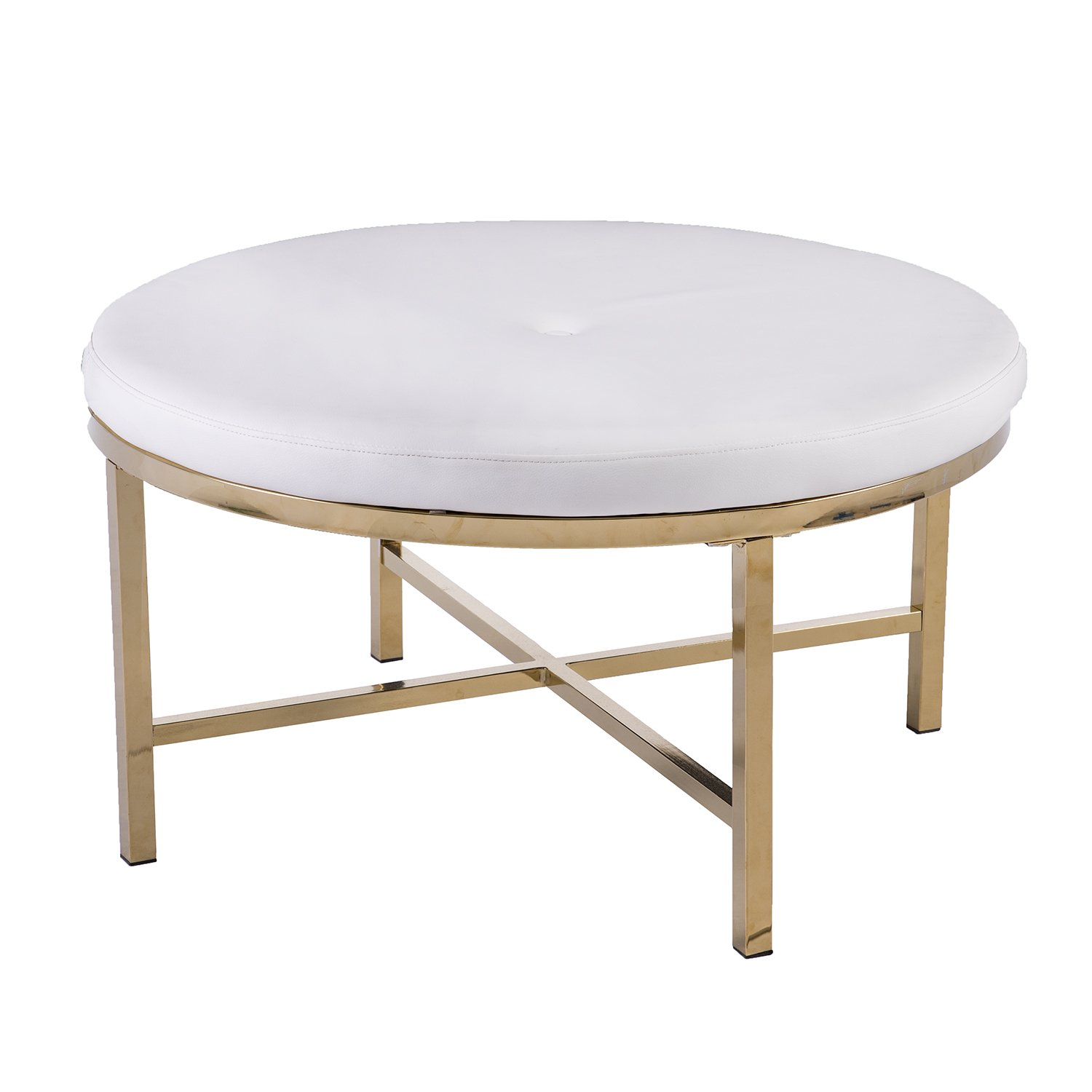 Round Coffee Table With Ottomans.Amazon Com Furniture Hotspot White Faux Leather Ottoman Table
