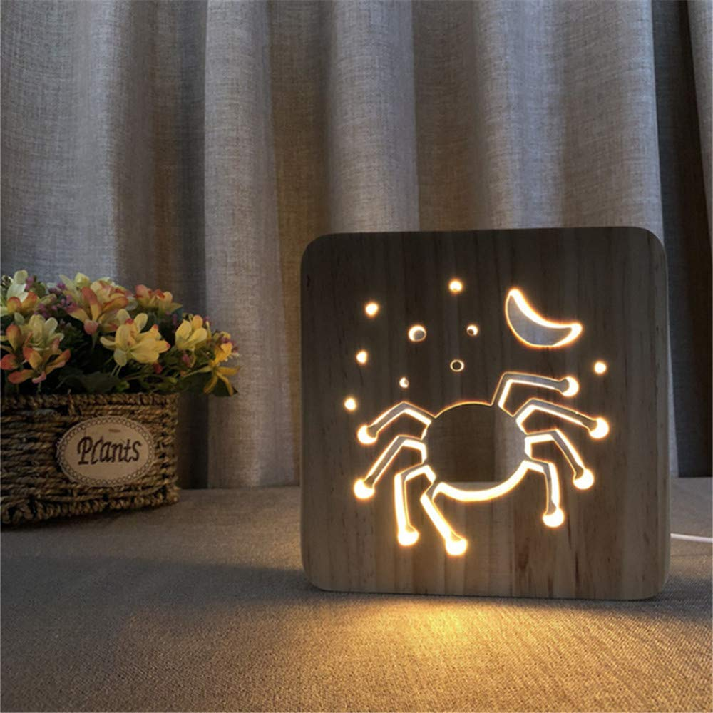 Night Light Kid Led Wooden Button Type 3D Wood Table Lamp USB Warm White, Spider