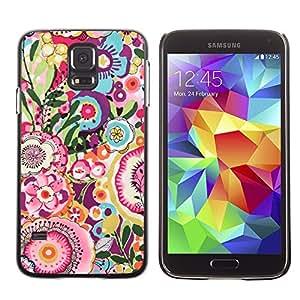 LECELL--Funda protectora / Cubierta / Piel For Samsung Galaxy S5 SM-G900 -- Art Pattern Vintage Summer --
