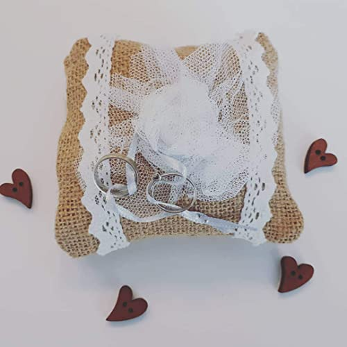 Cojín para anillos de ceremonia puntilla y tul blanco: Amazon ...