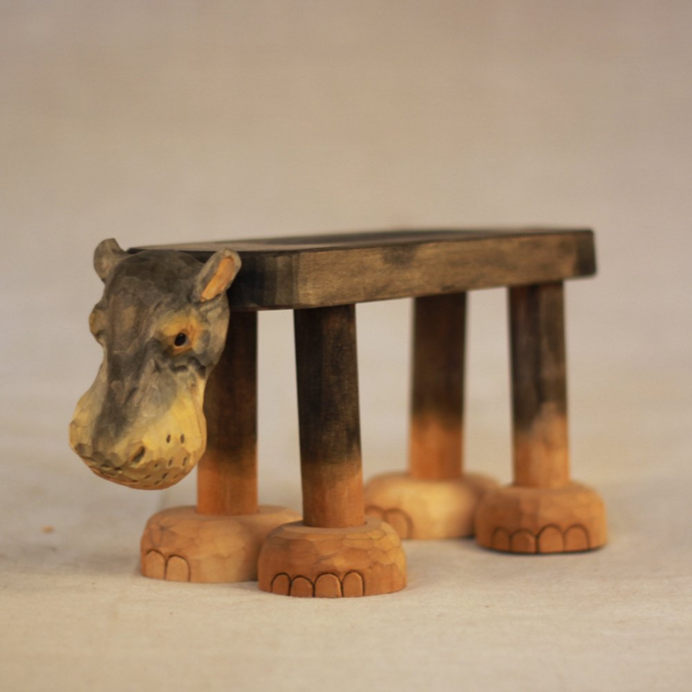 Visual taste Footstool/animal small bench/hand carving/gift/ solid wood bench/home decoration ornaments-B