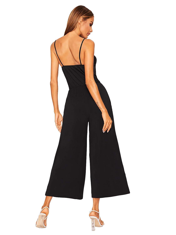 012b8a1cb1 Amazon.com  DIDK Women s Spaghetti Strap Flare Wide Leg Cami Jumpsuit  Culottes  Clothing