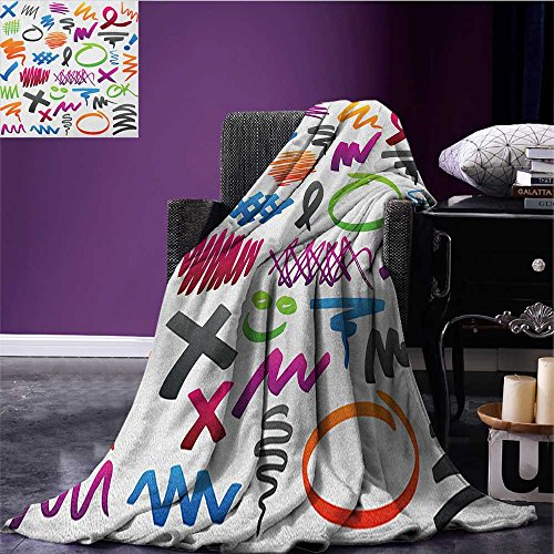 Doodle summer blanket Pencil Drawings with Vibrant Colors Lines Marker Strokes Circles and Other Shapes Flannel Multicolor size:51