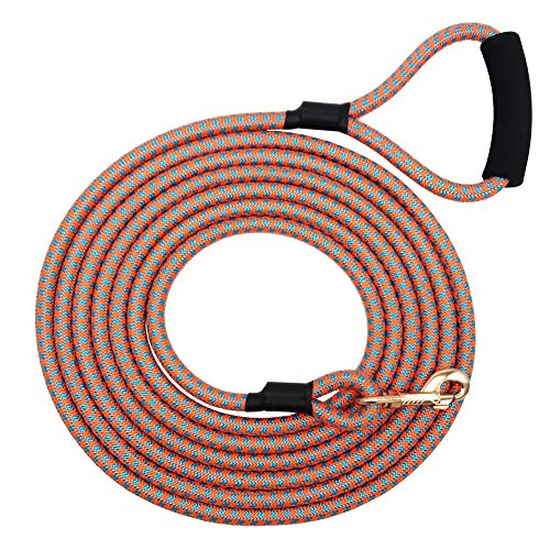 Shorven Nylon Strong Dog Rope Lead Leash Training Dog Lead with Soft Handle 6-20 FT Long Orang/Blue (Dia:0.5 20FT)