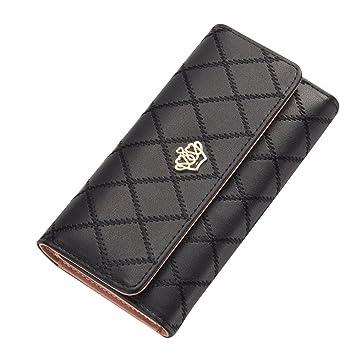 Contever® Moda Bolsos de mano Clutch Largo Carteras para Mujer Dama cuero de la PU Billetera Tarjetero (Negro): Amazon.es: Belleza