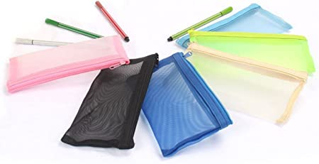 Dosige 4PCS Estuche de lápices transpirable de malla Estuche de lápices transparente,Para bolígrafos, lápices, varios artículos de papelería size 18 * 9cm (Color aleatorio): Amazon.es: Hogar
