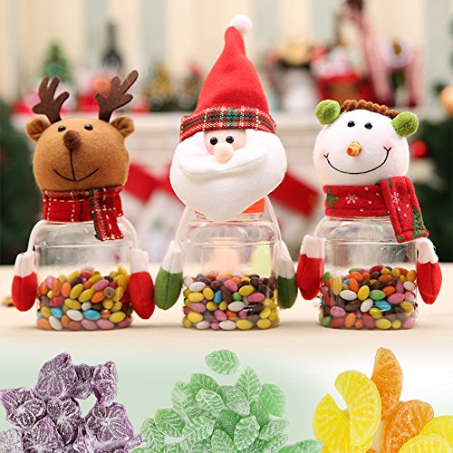 LUCKSTAR Christmas Candy Jar Set of 3 - Food Storage Container Christmas Elk & Santa & Snowman Clear Plastic Candy Jar Gift Bottle Holder Xmas Decor Party Decor Container Gift (Colorful)