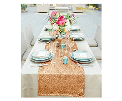 Amazon.com  ShinyBeauty 12x90-Inch Rectangle Rose Gold Sequin Table ... 425498a768f5