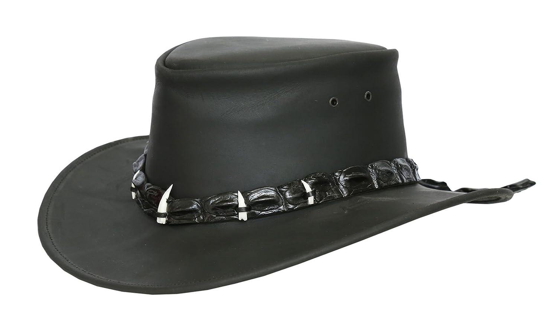 Lederhut in schwarz und braun mit echtem Krokodilleder- Hutband und Zähnen von Kakadu Australia, 2.Wahl
