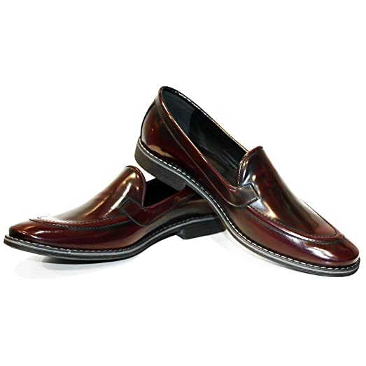 Modello Flore - Handmade Italian Mens Burgundy Moccasins Loafers - Cowhide Smooth Leather - Slip-On