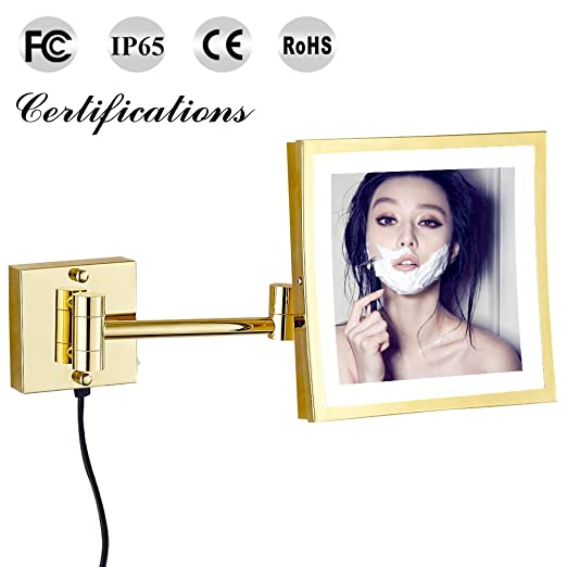 GURUN LED Lighted Makeup Mirrors Wall Mounted with 3x Magnification,8.5 inch,Gold (1802DJ)