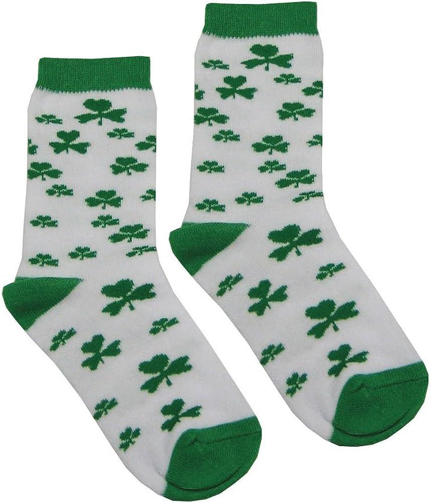 White 4//8 Shamrock Socks