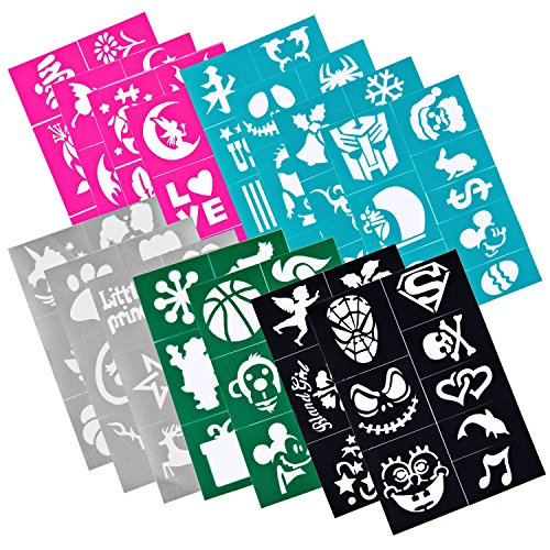 Miss Flora 120 Pieces Face Paint Stencils, Soft Pliable Reusable for Kids Parties Sleepovers Birthday School Carnivals Halloween Christmas,Non-Toxic, Easy to use, Best pary supplies for kid & (Black Light Sensitive Paint)