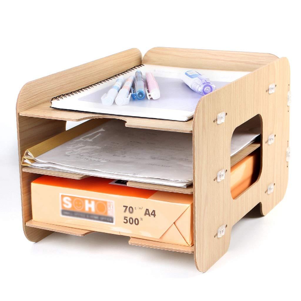 ZHJING Gabinete de Archivo Escritorio de Escritorio Gabinete de Almacenamiento de Escritorio Archivo de Madera Gabinete de información Creativa de Tres Capas (Color : Color Madera) ddb8a1