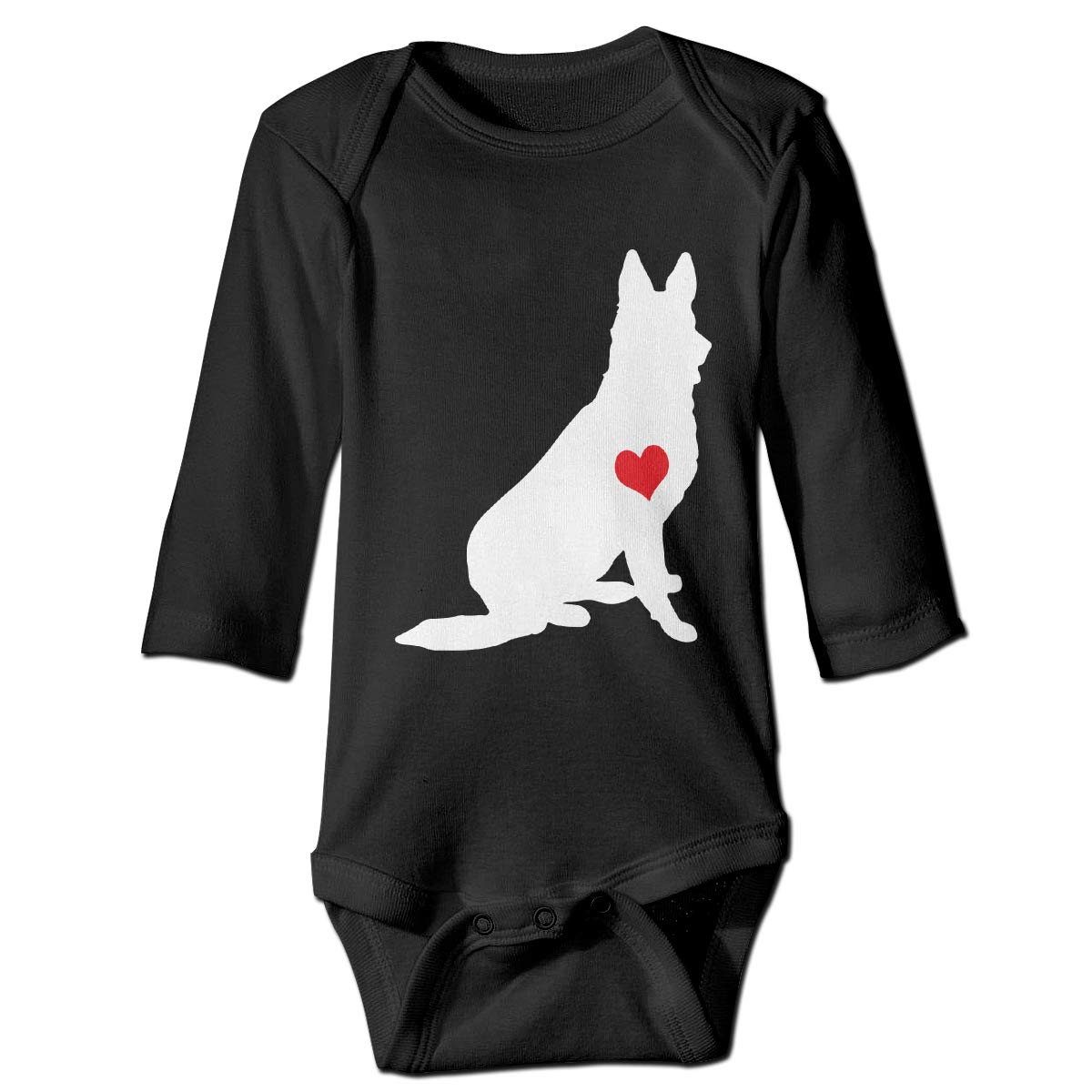 A14UBP Infant Baby Boys Girls Long Sleeve Baby Clothes Adore German Shepherds Unisex Button Playsuit Outfit Clothes