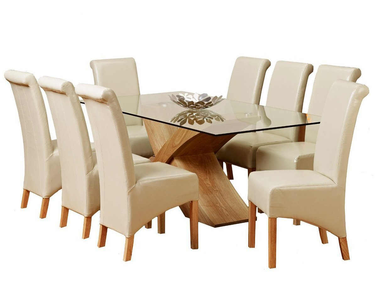 1home Glass Top Oak Cross Base Dining Table W/ 6 8 Leather Chairs Room  Furniture 200cm (Table With 8 Chairs): Amazon.co.uk: Kitchen U0026 Home
