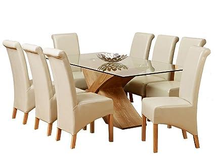 Tapa de cristal y Base de madera de roble con mesa de comedor 6 8 ...