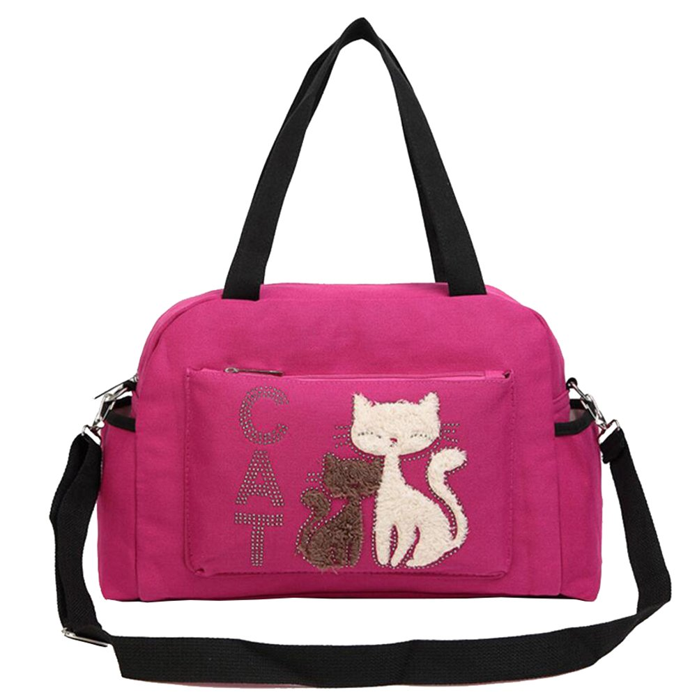 Caxece Handbag for Women Canvas Cute Cartoon Cat Tote Bag Crossbody Purses Multi-Function Waterproof Travel Backpack Nappy Bags for Baby Care Large Capacity (Rose)