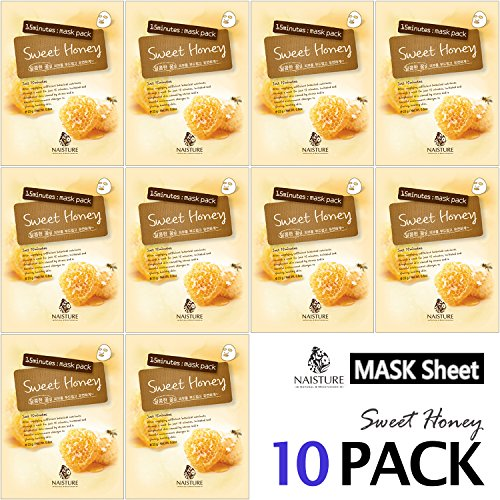 (Collagen Facial Sheet Mask Pack (10 Sheets) Face Treatment [NAISTURE] Essence Face Masks - 15 Minute Application For Smooth Moisturizing Revitalizing Hydration 0.8 oz, Made in Korea - Sweet Honey)