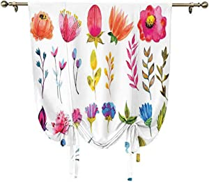 oobon Flower Decor Roman Curtain,Watercolored Decor Flowers Tulips Roses Colored Leaves Garden Design Print Thermal Insulated Blackout Window Curtain,55x63 Inch,for Home Decoration Multicolor