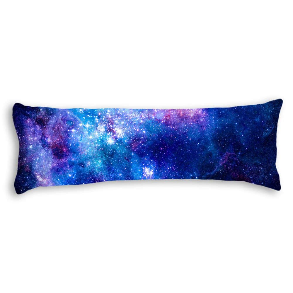 AILOVYO Colorful Pink Blue Galaxy Nebula Pattern Machine Washable Silky Soft Satin Decorative Body Pillow Case Cover, 20-Inch x 54-Inch