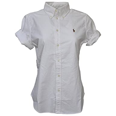 Polo Ralph Lauren Women\u0027s Short Sleeve Oxford Button Down Shirt, White,  Medium