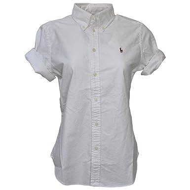 Polo Ralph Lauren Women\u0027s Short Sleeve Oxford Button Down Shirt, White,  Medium