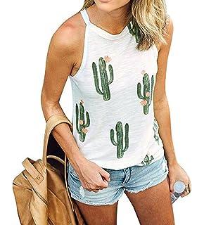 ac6245ca Sibylla Women High Neck Floral & Cactus Print Tank Top Sleeveless Casual  Vest T-Shirt