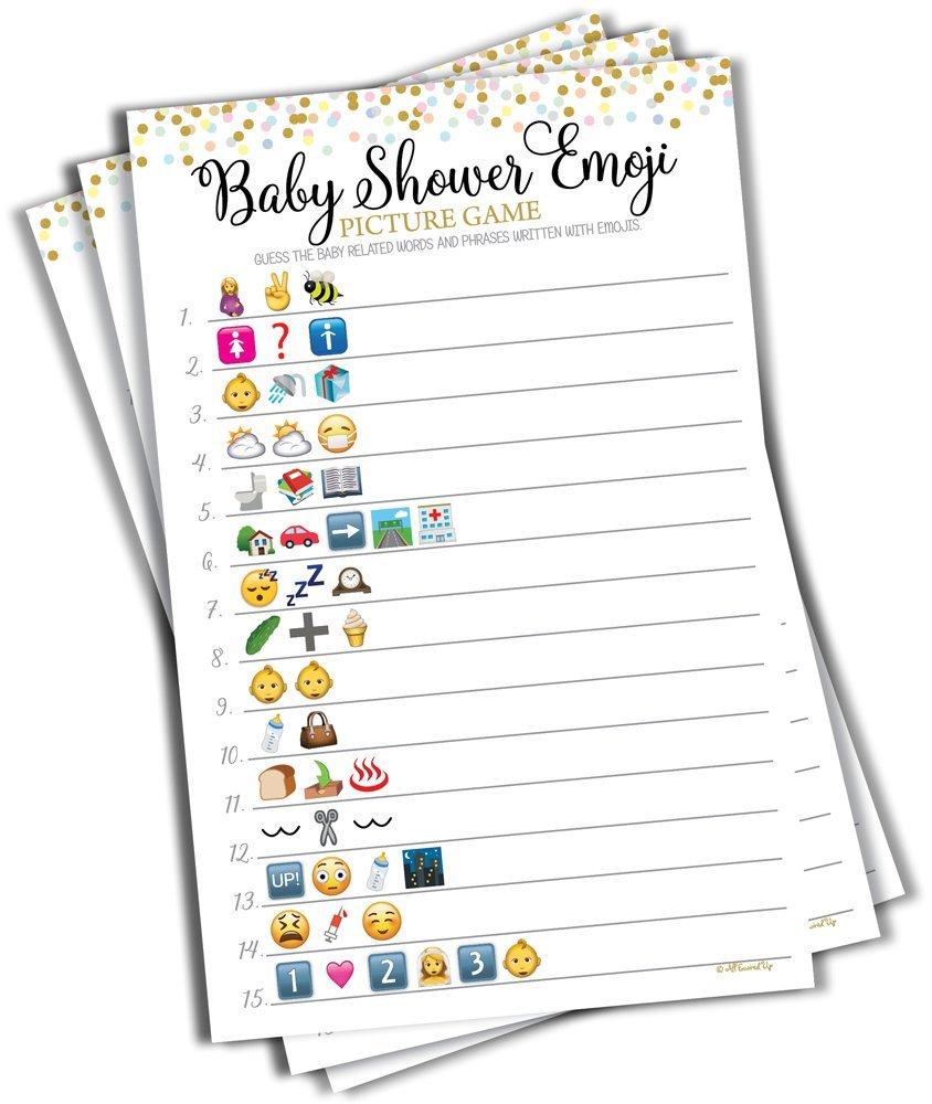 Baby Shower Emoji Picture Game - Baby Shower Game - Gender Neutral (50-sheets)