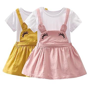 Covermason Niños Ropa Venta de liquidación Niños pequeños Bebés y niñas Vestido corto de manga corta