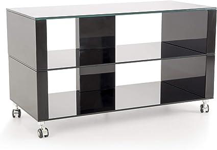 soliving boston meuble tv verre noir