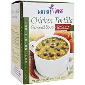 NutriWise - Chicken Tortilla Protein Soup   7/Box   Healthy Nutritious Diet Soup   Meal Replacement   Hunger Control   Low Fat - Low Sugar - 100 Calorie - Low Carb
