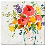 White Vase with Bright Flowers by Sheila Golden, 24x24 inches Canvas Wall Art