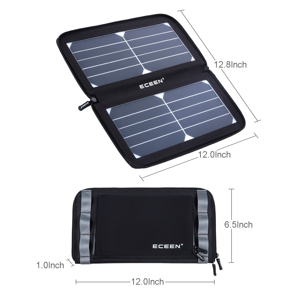 ECEEN Folding Solar Panel Phone Charger With USB Port,Zipper Pack for iPhone, iPad, iPods, Samsung, Android Smartphones Speaker Gopro All 5V USB-Charging Devices (Black) by ECEEN (Image #2)