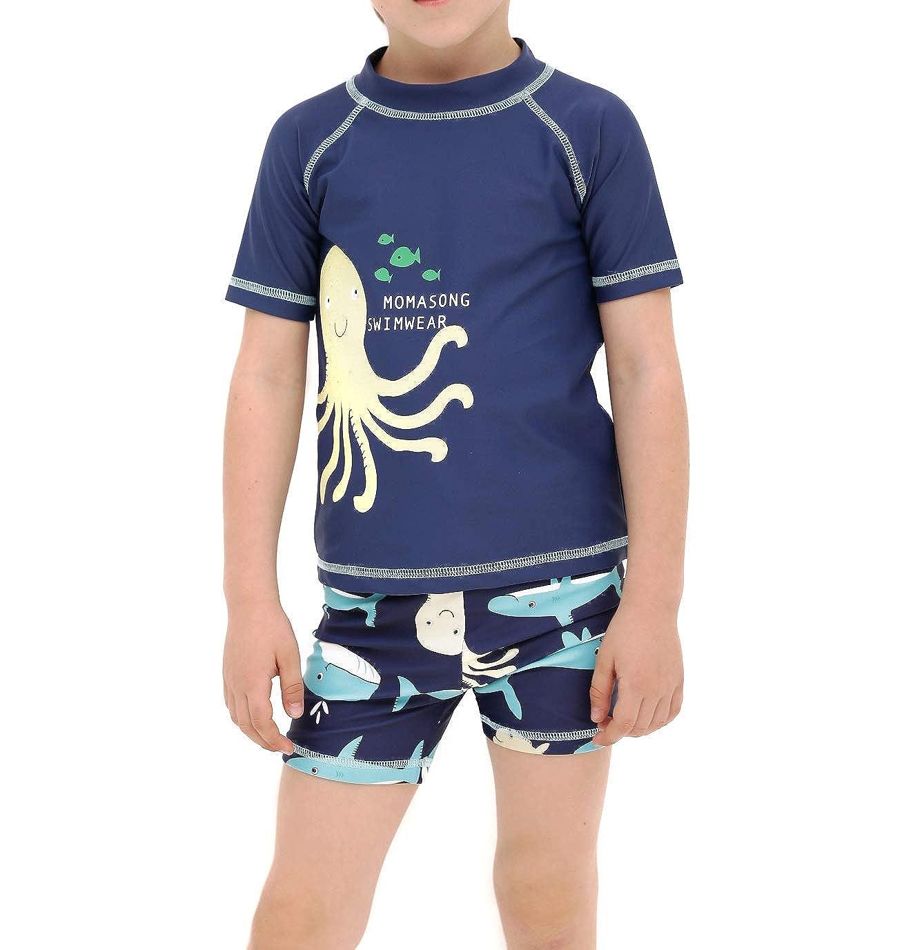 LAPLBEKE Baby Jungen Zwei St/ück Badebekleidung Kinder Rash Guard Schwimmbekleidung Kleinkind Badeanzug Schnell Trocknend UV-Schutz Bade Set Mit Hut