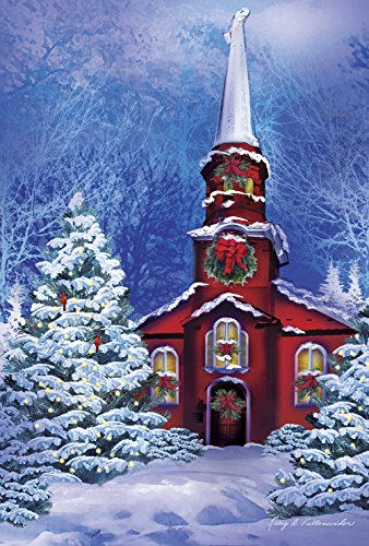 Toland Home Garden Serene Sanctuary 28 x 40 Inch Decorative Winter Holiday Church Snow Forest Scene House ()