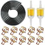 """IZOKEE 1/4"""" Inch ID Fuel Line Set - 2 Meter / 6-Foot ¼ Inch Fuel Line + 2 Pcs 1/4 Inch & 5/16 Inch Fuel Filters + 10 Pcs 2/5"""""""