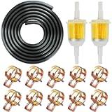 IZOKEE 1/4' Inch ID Fuel Line Set - 2 Meter / 6-Foot ¼ Inch Fuel Line + 2 Pcs 1/4 Inch & 5/16 Inch Fuel Filters + 10 Pcs…