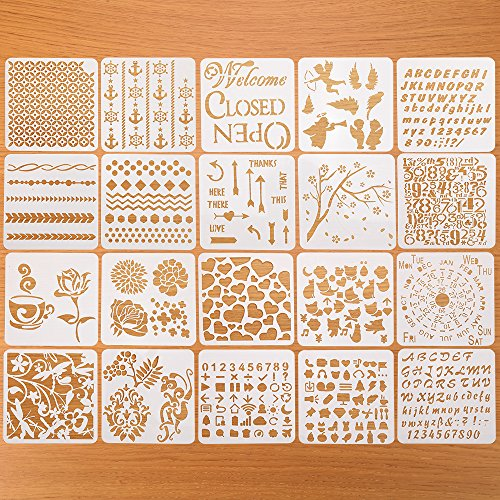 Creations Calendar Kit (DIY Drawing Painting Stencils for Creative Job,20PCS Square Pattern Shape Templates for Bullet Journaling and Drawing)