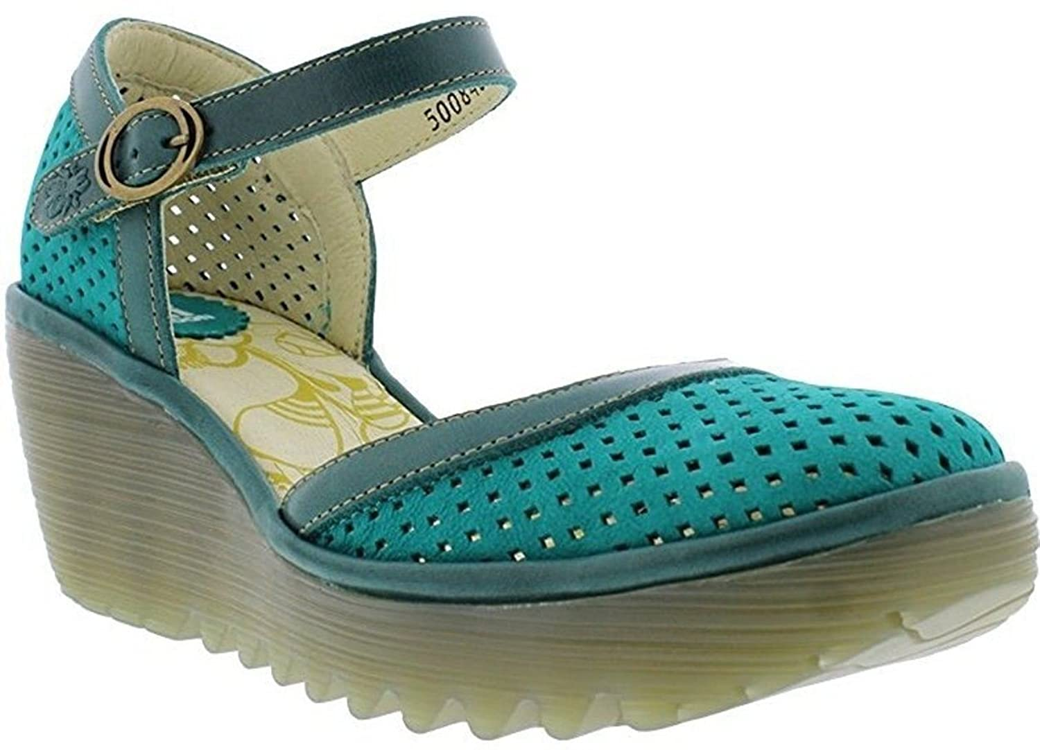 #Fly London Yupi840fly Green Womens Leather Wedge Shoes