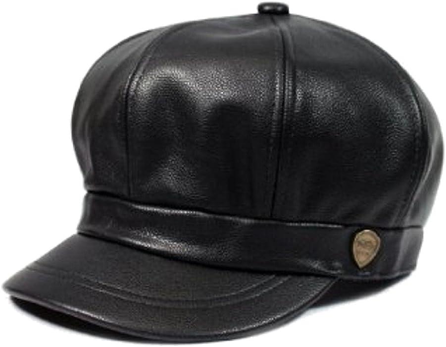 06ea7592f17 Amazon.com  Faux Leather Spitfire Newsboy Cap Hat (Black)  Clothing