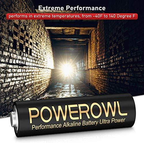 POWEROWL High-Capacity Alkaline AA AAA Batteries Combo, Long Lasting, 10-Year Shelf Life - Pack of 16