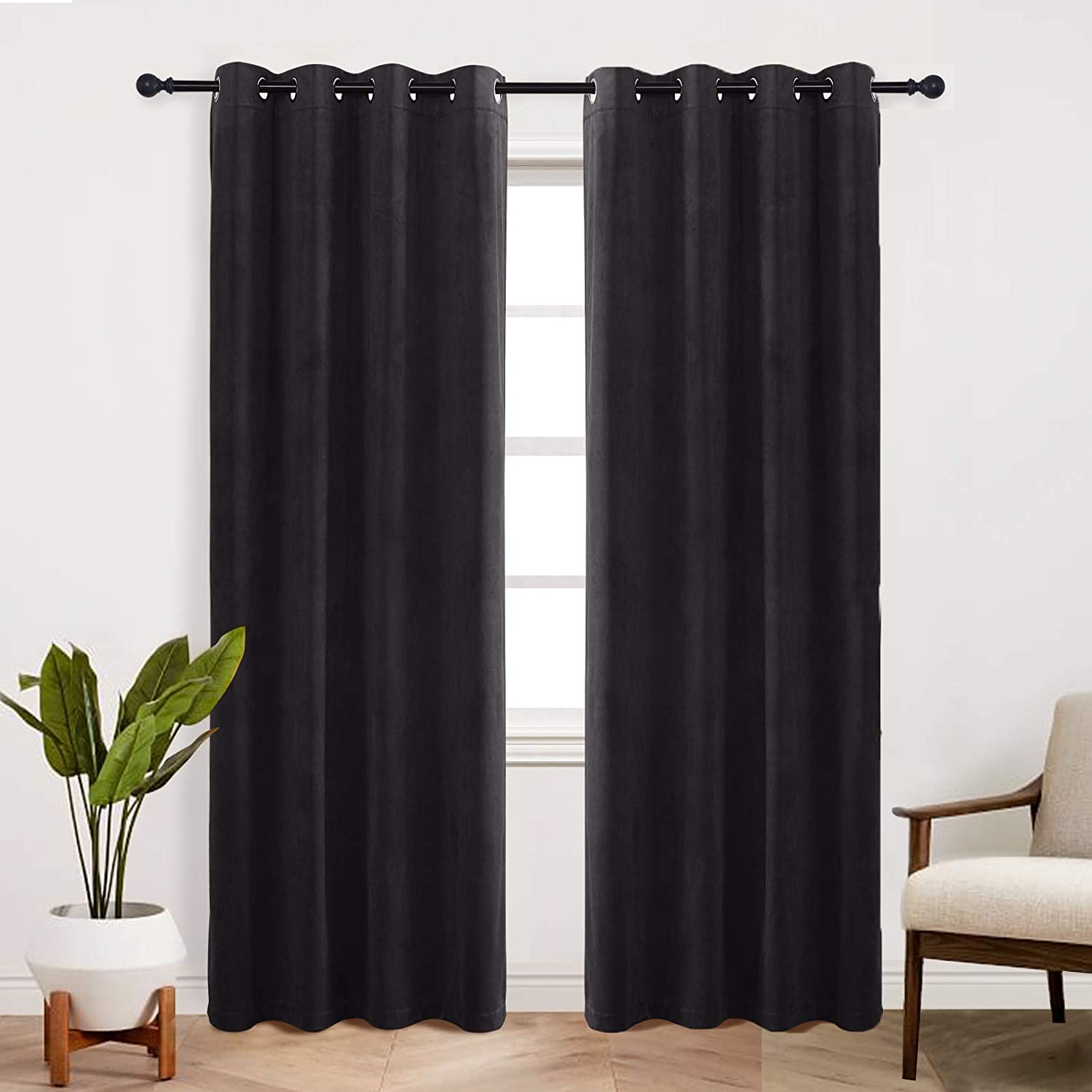 StangH Black Velvet Curtains 96 inches - Grommet Blackout Curtain Panels Energy Smart Thermal Insulated Window Drapes for Living Room / Dining / Home Office, Black, W52 x L96, 1 Panel
