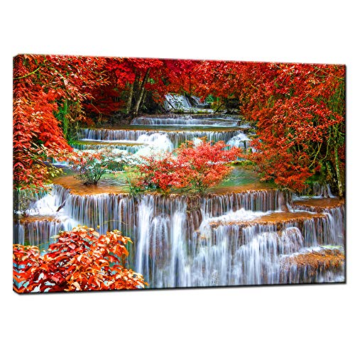 Nachic Wall Nature Pictures Wall Decor Autumn Waterfall Canvas Wall Art Red Fall Forest Landscape Painting for Bedroom Wall Decor Stretched and Framed Ready to Hang