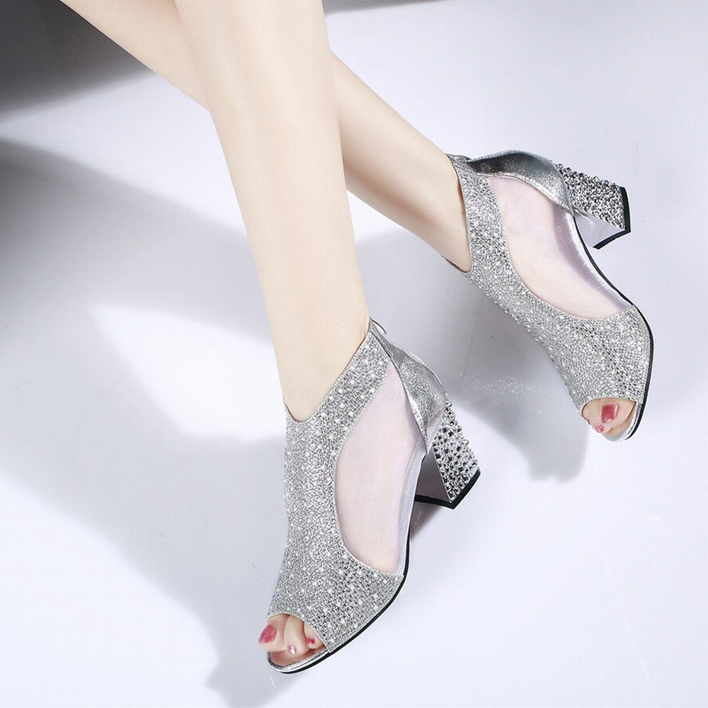 DIDIDD Frühling und Sommer Rau mit Frauen 'S 'S Frauen Sandalen High Heels Fischkopf Schuhe Strass Einfarbig Mode Sandalen,Silber-,36 - 0ce546
