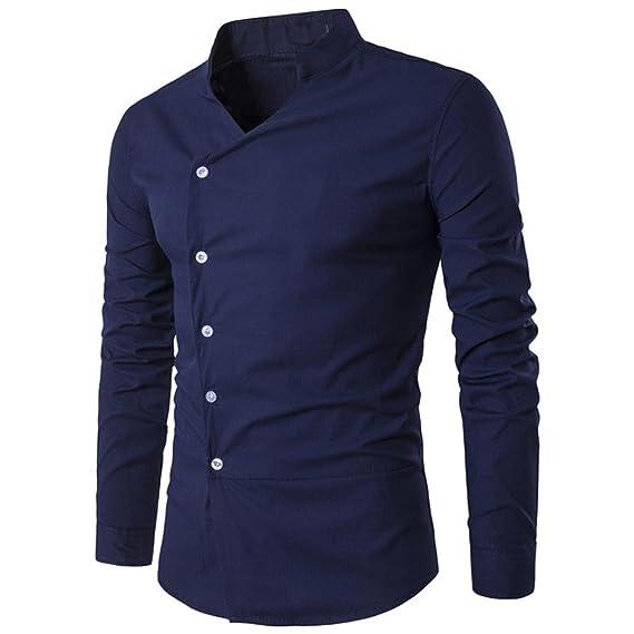 ZARLLE_Camisa Hombre Moda Personalidad De La Moda De Los Hombres De Top Blusa Casual Slim Camisa De Manga Larga Casual Camiseta para Hombre Tops Blusa ...