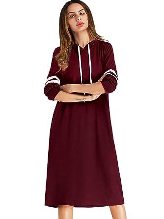 fff159f4e5 SheIn Women's Casual Long Sleeve Striped Hoodie Sweatshirt Dress with  Pockets Burgundy Small