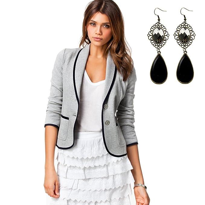 M-Queen Para Mujeres Blazers Abrigo OL Traje de Negocios Chaqueta de Punto Casual Cardigans